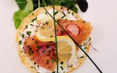 Bouchée traiteur saumon crème citronnée et ciboulette